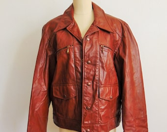 70s Mens CAFE RACER motorcycle jacket leather size 42