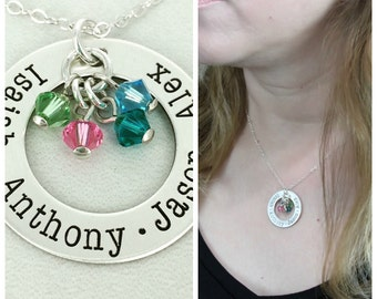 Personalized Eternity birthstone necklace w/4 crystals - Birthstone Necklace - Mother Jewelry - Engraved Necklace - Personalized Loop