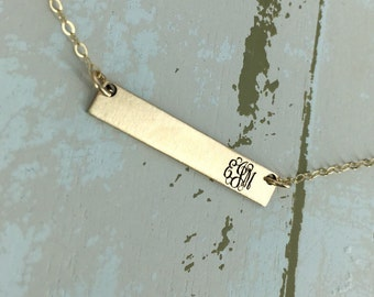 Gold bar monogram necklace - Personalized bar necklace - Gold Layering necklace - Bar necklace - Engraved necklace - Monogram necklace