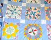 Vintage Quilt Top - Star Flowers - 74 x 96