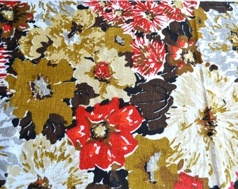 Vintage Barkcloth Fabric - Red Multicolored Floral - Remnant 12 x 48