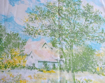 Vintage Pillowcase - Pastel Farmhouse Landscape - Standard Size