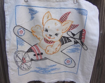 Vintage Airplane Pillow Cover / Hand Painted and Embroidered Dog Pilot