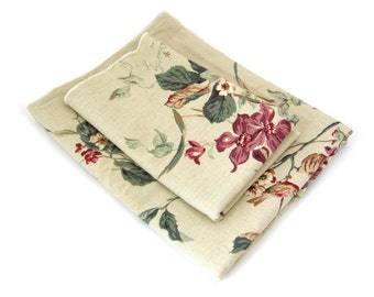 KINGSWAY Fabric Remnant Lot • Flowers, Birds, Butterflies •  Avonlea Roseguard Finish • Burgundy, Dusty Pink, Green, Khaki