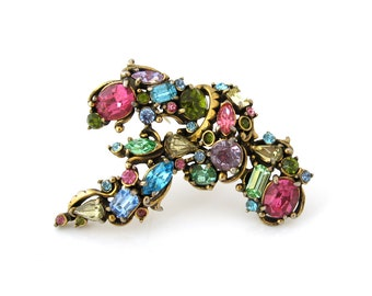 HOLLYCRAFT Brooch Pastel Rhinestone   Signed 1953 Pink, Green, Blue Pin   Vintage 1950s Jewelry