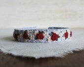 Winter Roses Bracelet - Burgundy Roses on Gray Linen Hand Embroidered Fabric Cuff Bracelet