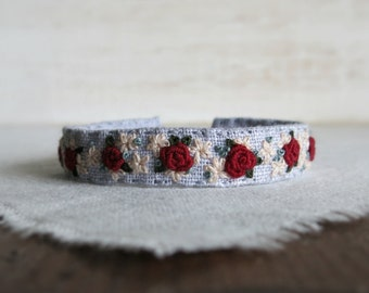 Burgundy Roses Fabric Cuff Bracelet - Burgundy Roses on Gray Linen Embroidered Fabric Cuff Bracelet
