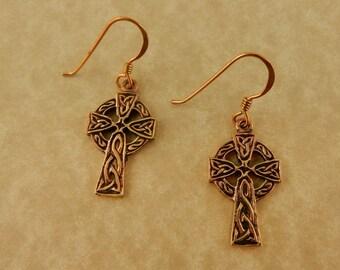 Vintage Bronze Celtic Cross Earrings  Irish