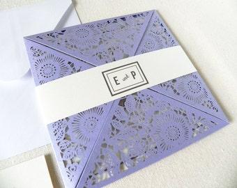 Vintage Lavender Floral Laser Cut Wedding Invitation Suite for Garden Wedding - Laser Cut Petal Fold, Insert Card, RSVP Card, and Envelopes