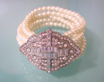 Great Gatsby Bracelet,  Pearl Cuff, Art Deco, Bridal Bracelet, Wedding Cuff, Rhinestone Bracelet, Vintage Wedding, Bridal Jewelry, Edwardian