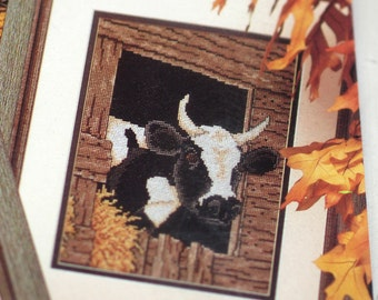 Cow Scapes ... Vintage Counted Cross Stitch Kit Country Decor DIY Craft Kit Colorful X-Stitch Graph Floss Aida Cloth Black and White Cows