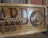 Personalized Military Wedding Gift Family Name Signs CARVED Custom Wood Sign Last name Marine Corps personalized sign Air Force Army Navy