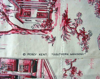 Vintage Feedsack Flour Sack Novelty Cotton Fabric - RARE * Southern Mansions by Percy Kent  - 36 x 36