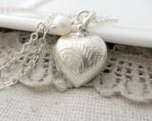 Heart Locket, Sterling Silver Locket, Vintage Locket Necklace, Tiny Heart Locket, Freshwater Pearl Locket, Small Silver Locket, Push Gift