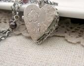 Sterling Silver Locket Necklace, Small Silver Heart Locket, Vintage Locket Pendant, Garnet Necklace January Birthstone Locket, Garnet Locket