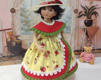 "SALE LIttle Darling ""Roses and Pearls"" dress, hat, necklace and slip fits LD dolls and H4H dolls"
