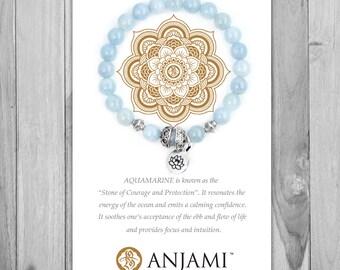 AQUAMARINE,Mala Bracelet,Beaded Bracelet,Wrist Mala,Yoga Jewelry,Inspirational,Gemstone Bracelet, Healing Jewelry