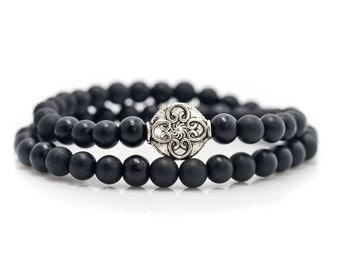 ONYX,Mala Bracelet,Beaded Bracelet,Men's BraceletGemstone Bracelet,Yoga Jewelry,Inspirational Jewelry,Healing Jewelry, Gift for Her