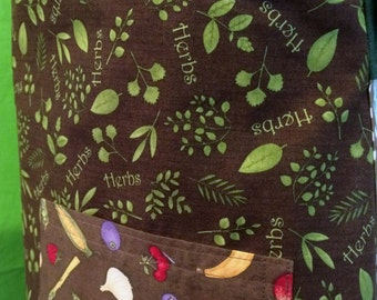 Fruits, Herbs and Veggies Full Coverage Traditional-Style Apron.  Handmade in the USA, Cotton