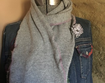 Gray cashmere with orchid crocheted trim