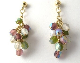 ON SALE 14K gold filled wire wrap earrings, violet, green and white crystal earrings, spring color earrings