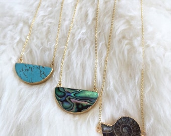 Ammonite Fossil, Turquoise, or Abalone Half Moon Necklace