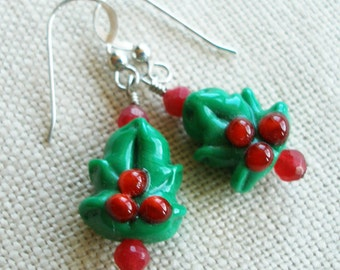 Christmas Tree Earrings, Holly Leaf, Red and Green Winter Holiday