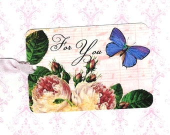 Tags, For You, Rose Gift Tags, Butterfly Tags, Party Favors, Roses