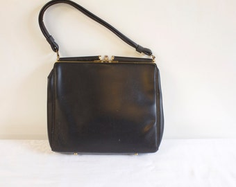 Vintage 1960s Black Clutch Purse