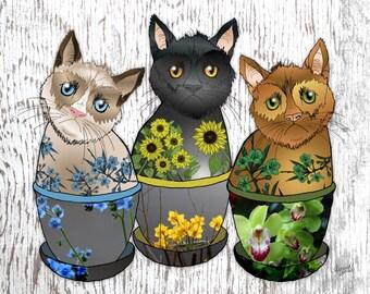 Kitty Cat Garden, floral art print, cat art, black cat, ginger cat, botanical animals, yellow green blue, cat lover, meow, Mothers Day gift