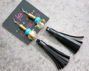 Trendy Black Leather Beaded Tassel Earrings with Turquoise and Stone on Sterling Silver Earring Hooks