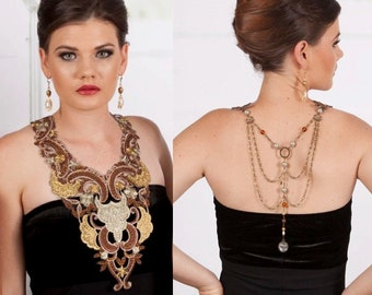 ON SALE Stunning AZTEC Gold Bronze Lace Bib Statement Necklace Collar with amazing Chain Backdrop featuring Pearls & Crystal
