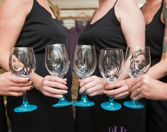 Fun Bridesmaid Gift - Vintage Style Original Caricature Wine Glasses- Hand Painted Wine Glass