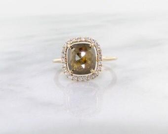 Rose Cut Rough Diamond Ring, Yellow Gold, Hazel