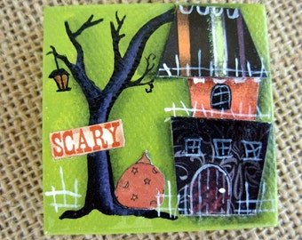 Scary Pumpkin House Mixed Media Collage Mini Painting |Fantasy|Halloween Art