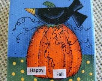 Happy Fall Crow Mini-Painting|Halloween|Fall Mixed Media