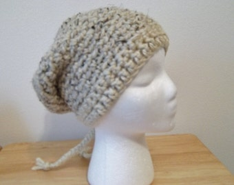 Hat - Handmade Crochet Girl's Hat - Thick & Quick Acrylic/Wool/Rayon - Beanie