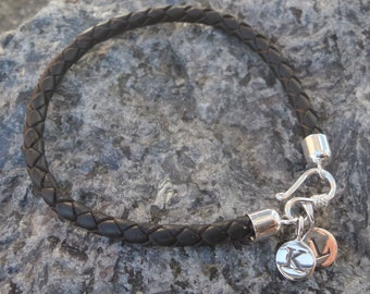 Sterling Silver initial Personalised leather bracelet. Sterling Silver Initial Monogram Bracelet Mens Solid Silver letter Bracelet.