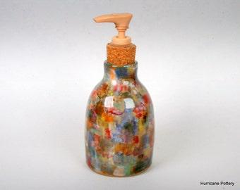Soap Dispenser. Oil Lamp. Oil Diffuser. Plaid Pottery Vase. Handmade Ceramic Pottery. Beach Decor. Cabin Decor. Americana. Primitive.