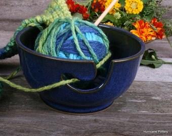Blue Yarn Bowl Pottery for Knitting HandMade