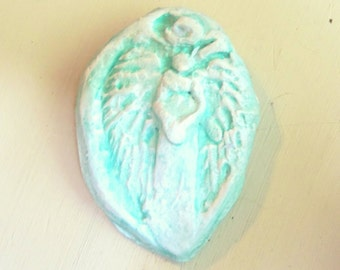 Angel Brooch, Angel Pin, Jewelry Brooch, Religious Jewelry, Clay Raised Relief, Turquoise Blue Color, Jewelry Gift, Religious Gift, Angel