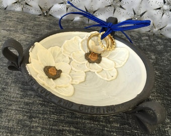 Ceramic Wedding Ring Bowl, with Poppies in White and Brown Stoneware Clay