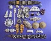 Lot of Vintage 30s - 50s Jewelry for Repair Repurpose Crafts Stone Harvest Rhinestones