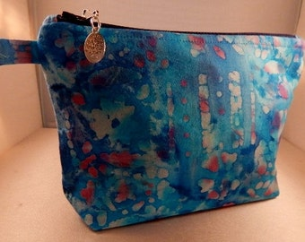 Turquoise Blue Batik Print Zipper Pull Ready to Ship Makeup Cosmetic Organizer Bag