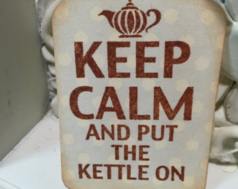 Keep Calm and Put the Kettle On Gift Tag....Soft Blue and Rich Brown Time for Tea Set of 10 ECS