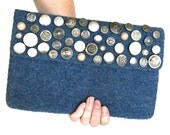 Felt Clutch Purse Knitted Felted Envelope Bettina Bag Flap Denim Blue Wool Vintage Silver Buttons Silk Plaid Lined Retro Style