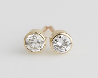 Dainty Natural White Diamond 14k Yellow or White Gold Stud Earrings - Solid Gold Post Pair - Genuine Diamond April Birthstone