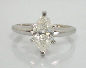 Marquis Cut Diamond Vintage Engagement Ring - 1.01 Carat
