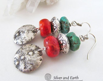Red Coral & Turquoise Earrings Hammered Sterling Silver Earrings Organic Rustic Boho Tribal Southwestern Jewelry Colorful Southwest Earrings