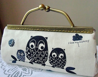 SALE -Black owls - Large Clutch Purse with chain (L-171) R1
